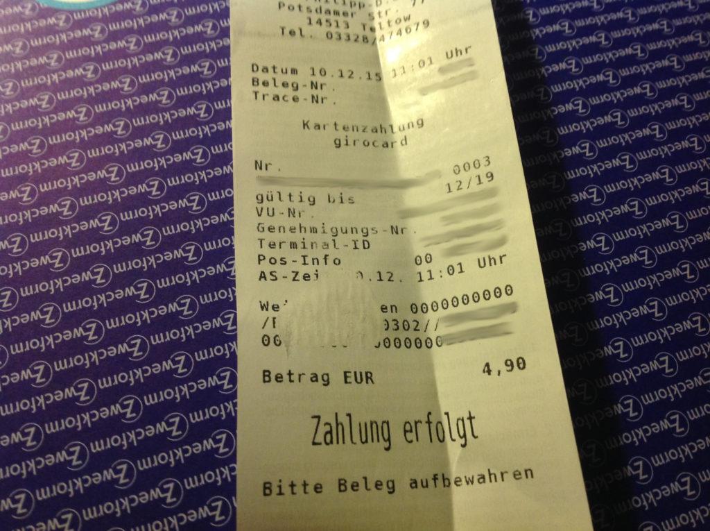 4,90 Euro mit EC