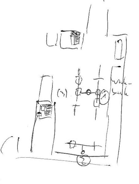 grobe Skizze mit drei Werkstattarbeitsplätzen