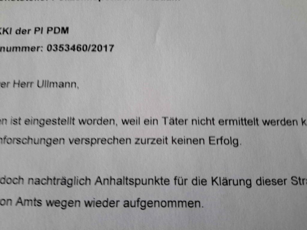 """""""eingestellt, weil ein Täter nicht ermittelt werden konnte"""""""